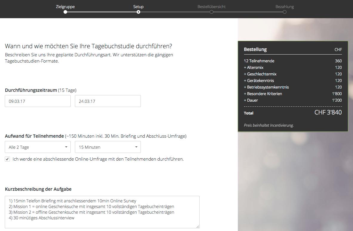 Screenshot des Tagebuch Bestellformulars auf TestingTime.com