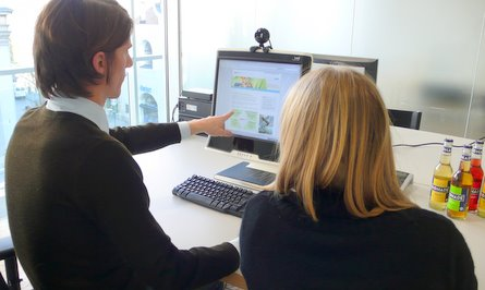 Thinking aloud: Test user explaining their thoughts on-screen during a usability testing process