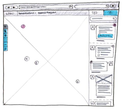 Screenshot Papierprototyp Lo-Fi