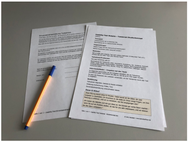 The usability test declaration of consent and study concept in-house usability tests