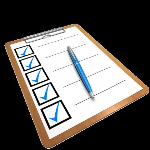 Checkliste für Versuche