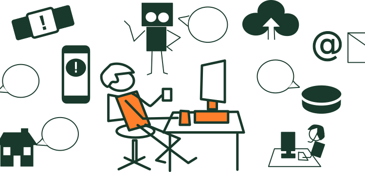 Illustration SEQ Illustration \* ARABIC 12: A man sitting at his computer surrounded by examples of the interconnected world, including devices, a chatbot and a smart car