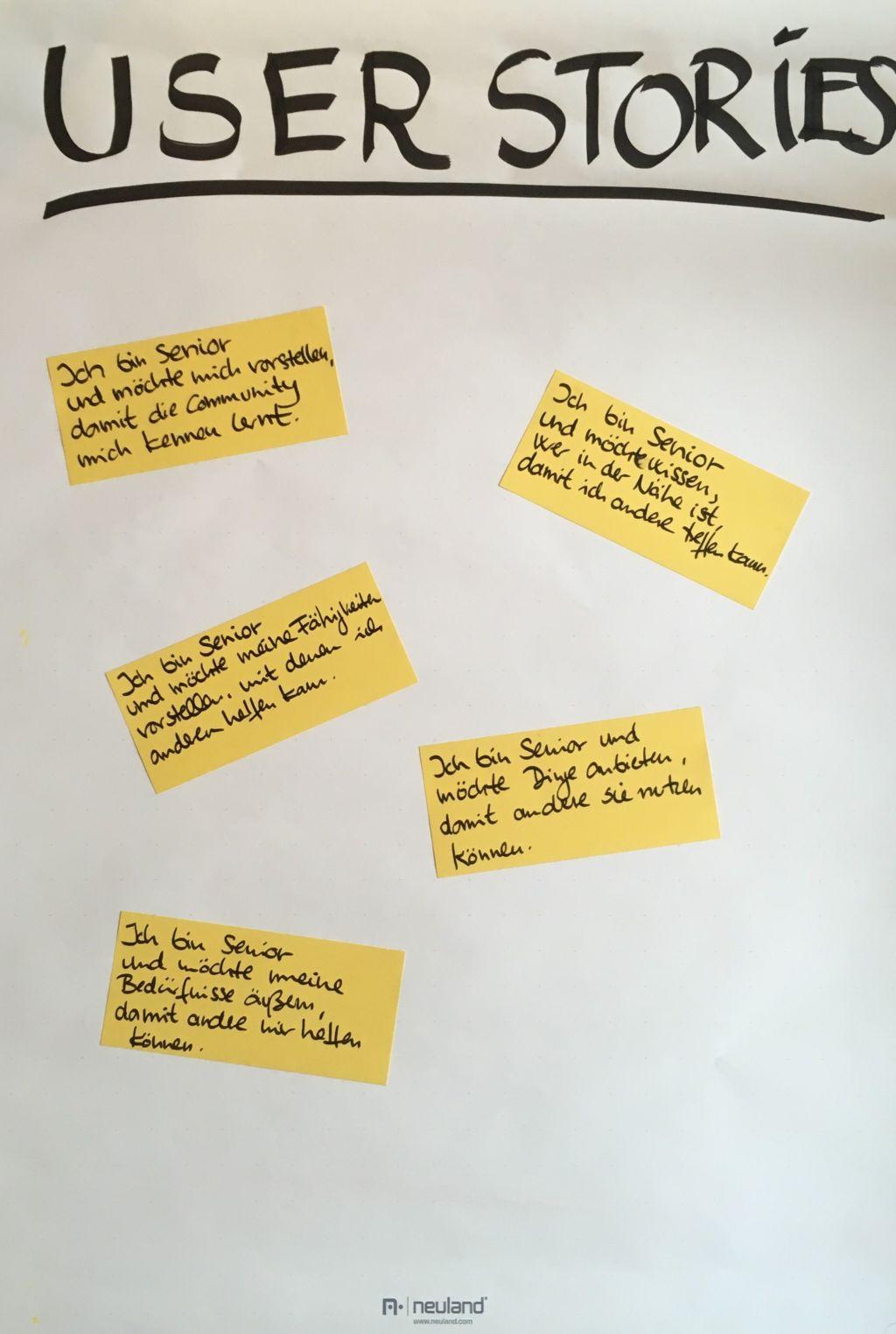 User Stories die auf Zettel geschrieben an der Wand hängen