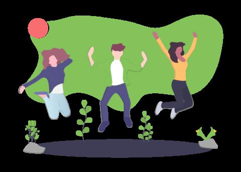Illustration von Testpersonen am feiern