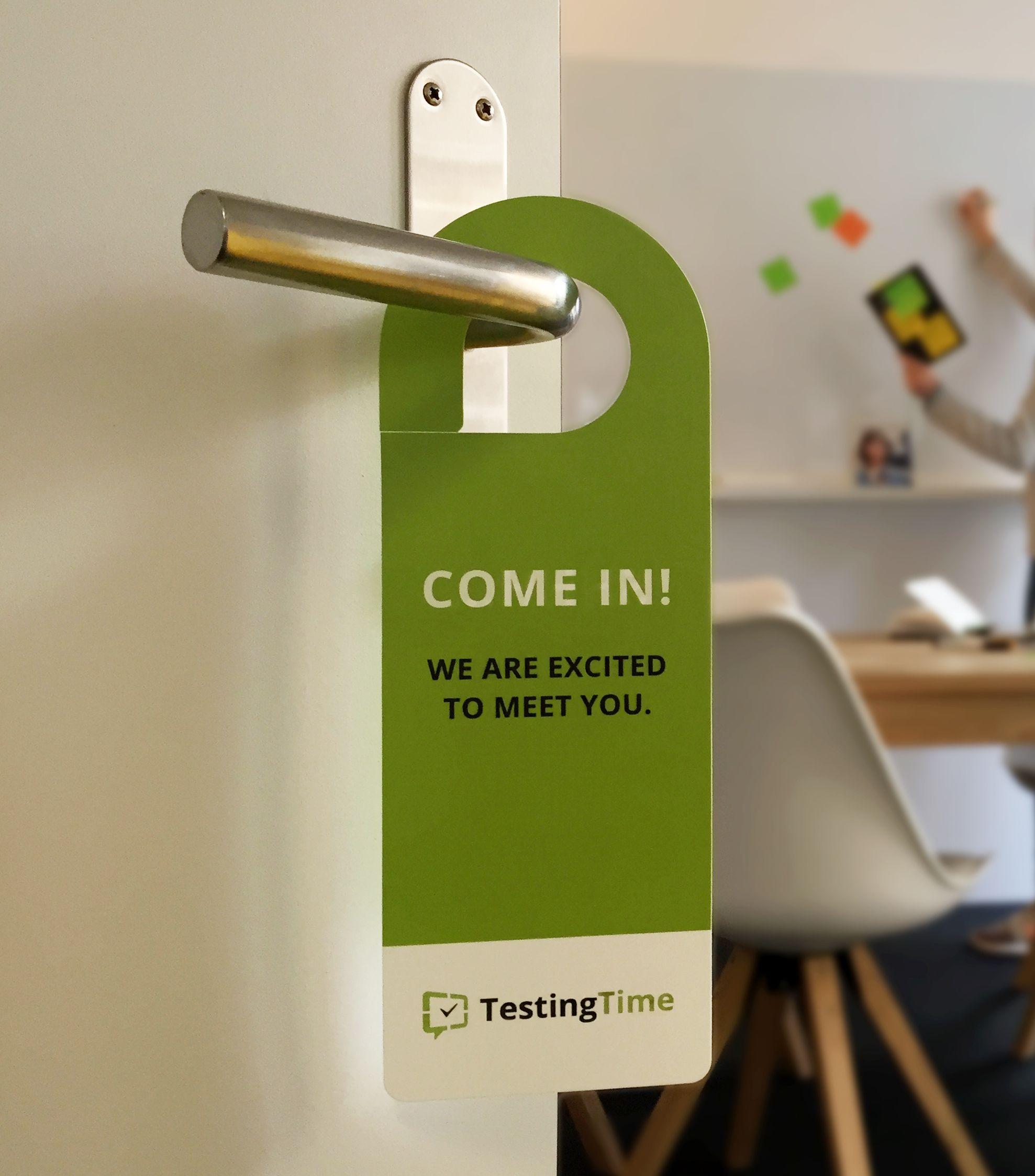 TestingTime door hanger