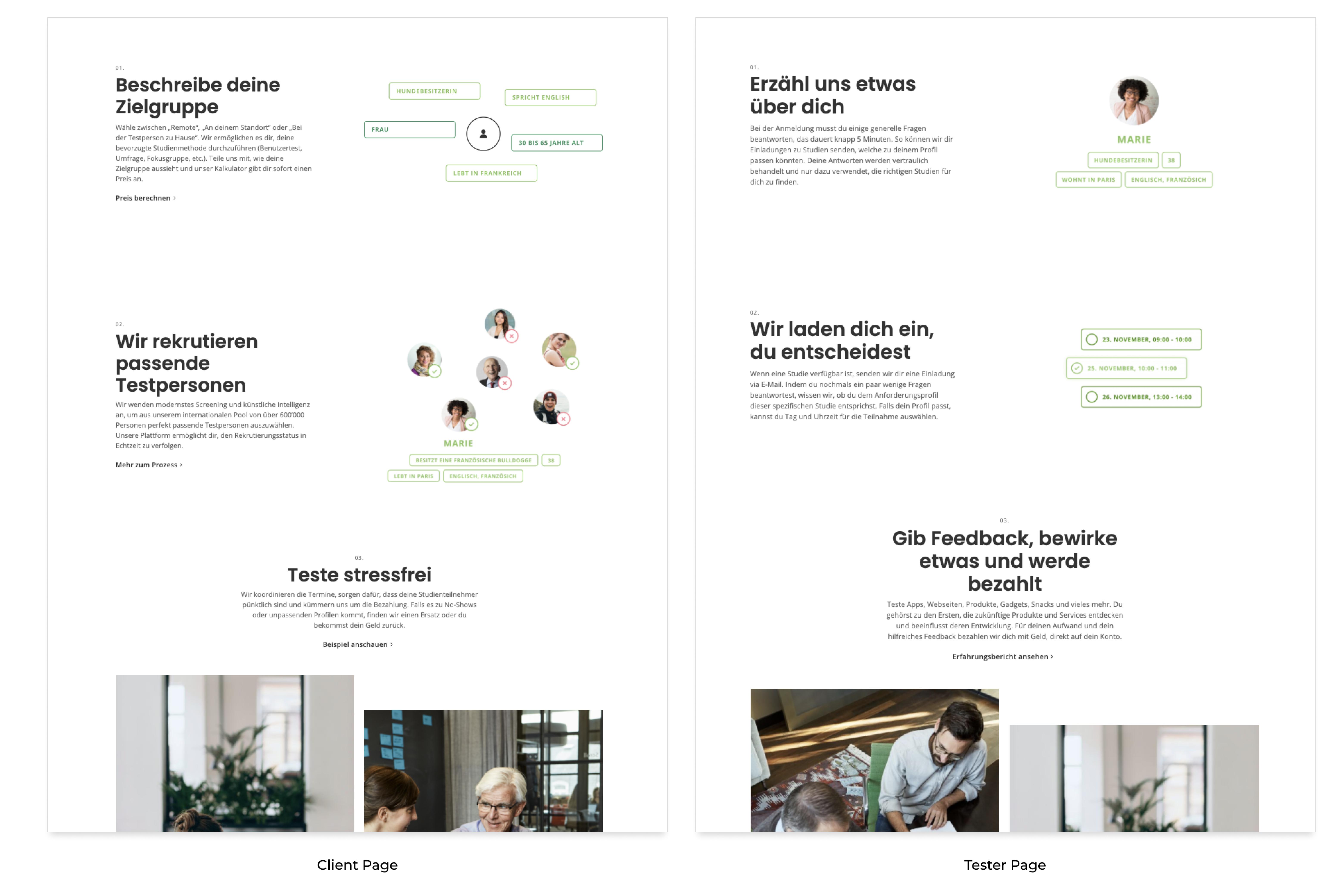 Kunden Homepage vs. Testpersonen-Registrierungsseite