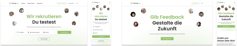 TestingTime Kunden- und Testpersonen-Startseite