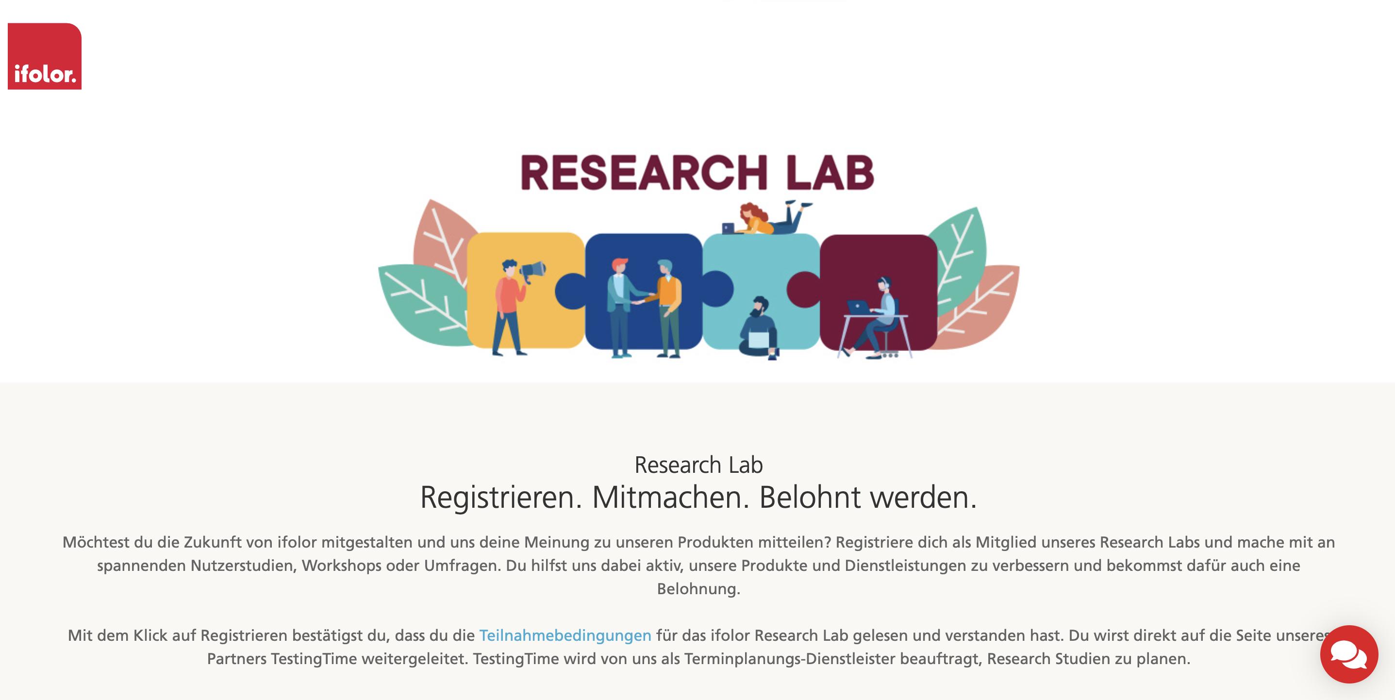 Landingpage ifolor Research Lab
